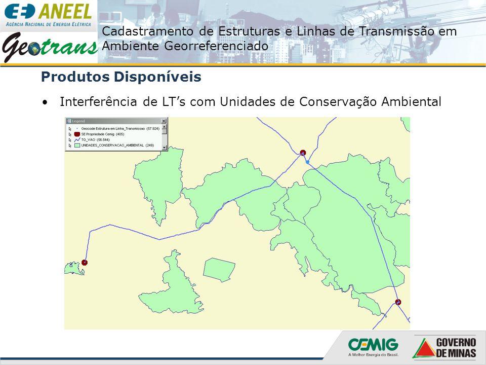 Cadastramento de Estruturas e Linhas de Transmissão em Ambiente Georreferenciado Produtos Disponíveis Interferência de LT's com Unidades de Conservaçã