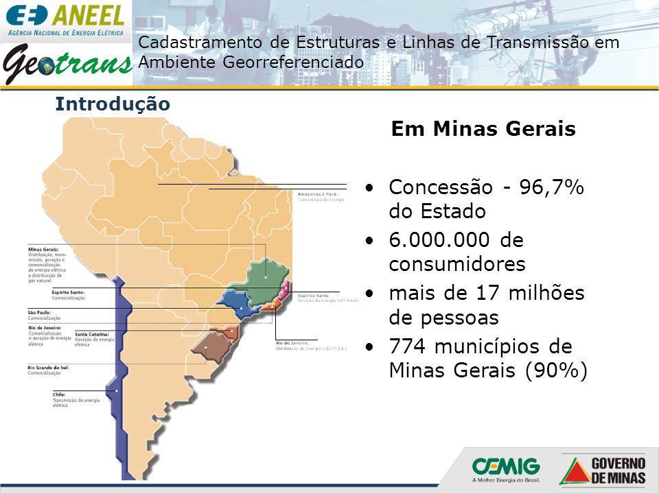 Cadastramento de Estruturas e Linhas de Transmissão em Ambiente Georreferenciado Introdução Em Minas Gerais Concessão - 96,7% do Estado 6.000.000 de c