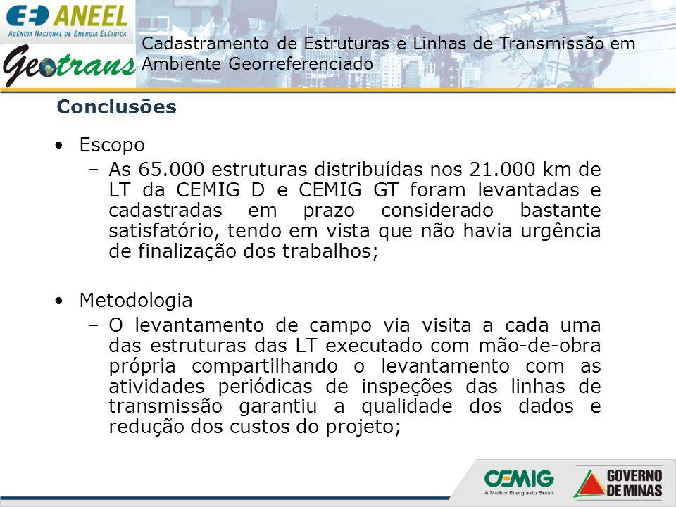 Cadastramento de Estruturas e Linhas de Transmissão em Ambiente Georreferenciado Conclusões Escopo –As 65.000 estruturas distribuídas nos 21.000 km de