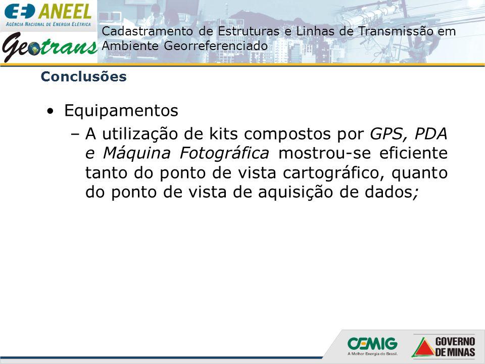 Cadastramento de Estruturas e Linhas de Transmissão em Ambiente Georreferenciado Conclusões Equipamentos –A utilização de kits compostos por GPS, PDA