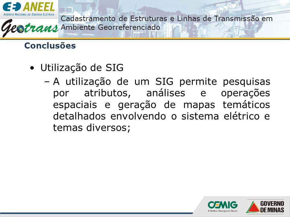 Cadastramento de Estruturas e Linhas de Transmissão em Ambiente Georreferenciado Conclusões Utilização de SIG –A utilização de um SIG permite pesquisa
