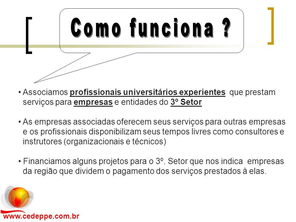 Associamos profissionais universitários experientes que prestam serviços para empresas e entidades do 3º Setor As empresas associadas oferecem seus se