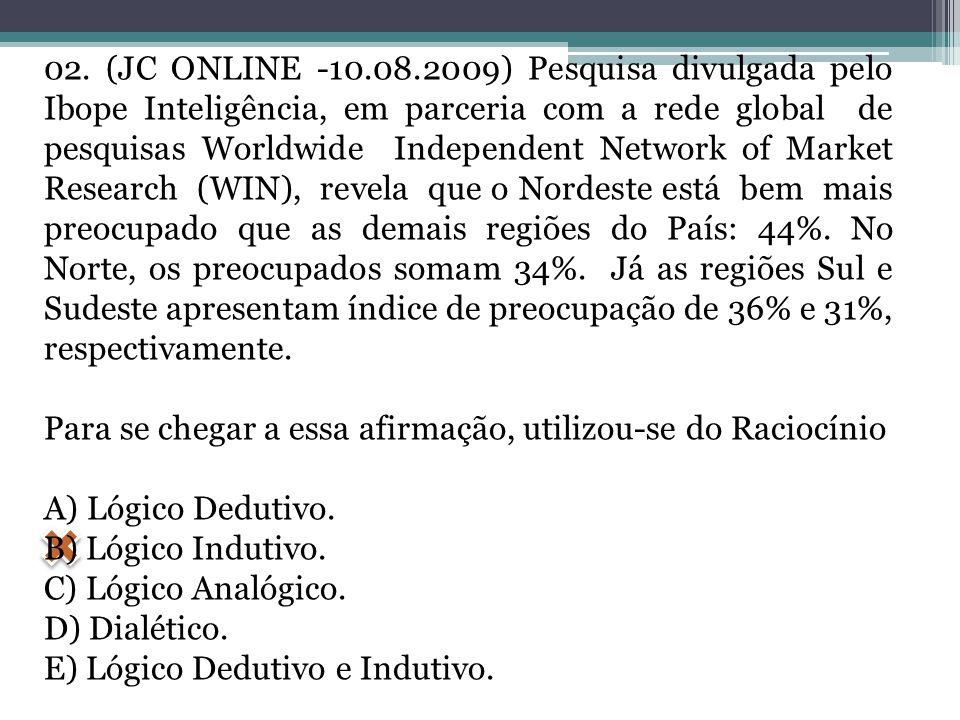 02. (JC ONLINE -10.08.2009) Pesquisa divulgada pelo Ibope Inteligência, em parceria com a rede global de pesquisas Worldwide Independent Network of Ma