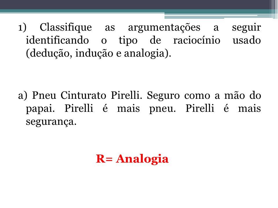 1) Classifique as argumentações a seguir identificando o tipo de raciocínio usado (dedução, indução e analogia). a) Pneu Cinturato Pirelli. Seguro com