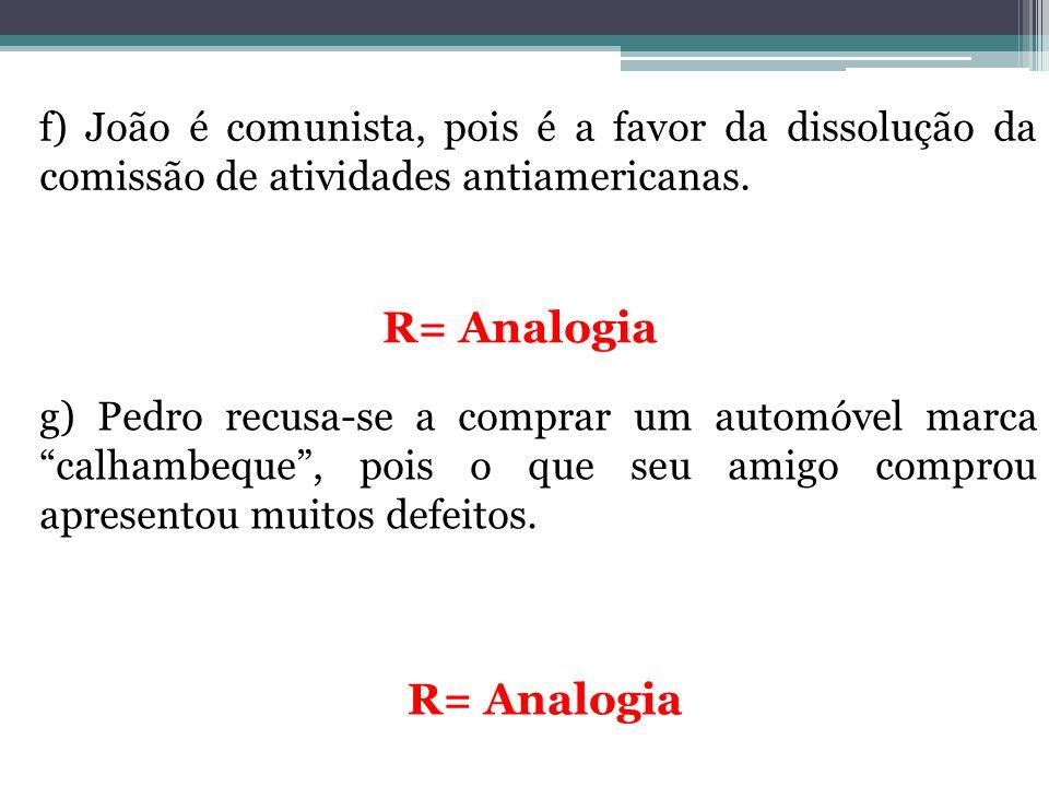 f) João é comunista, pois é a favor da dissolução da comissão de atividades antiamericanas. R= Analogia g) Pedro recusa-se a comprar um automóvel marc