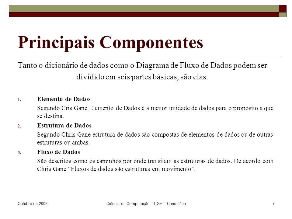 Outubro de 2008Ciência da Computação – UGF – Candelária7 Principais Componentes Tanto o dicionário de dados como o Diagrama de Fluxo de Dados podem ser dividido em seis partes básicas, são elas: 1.