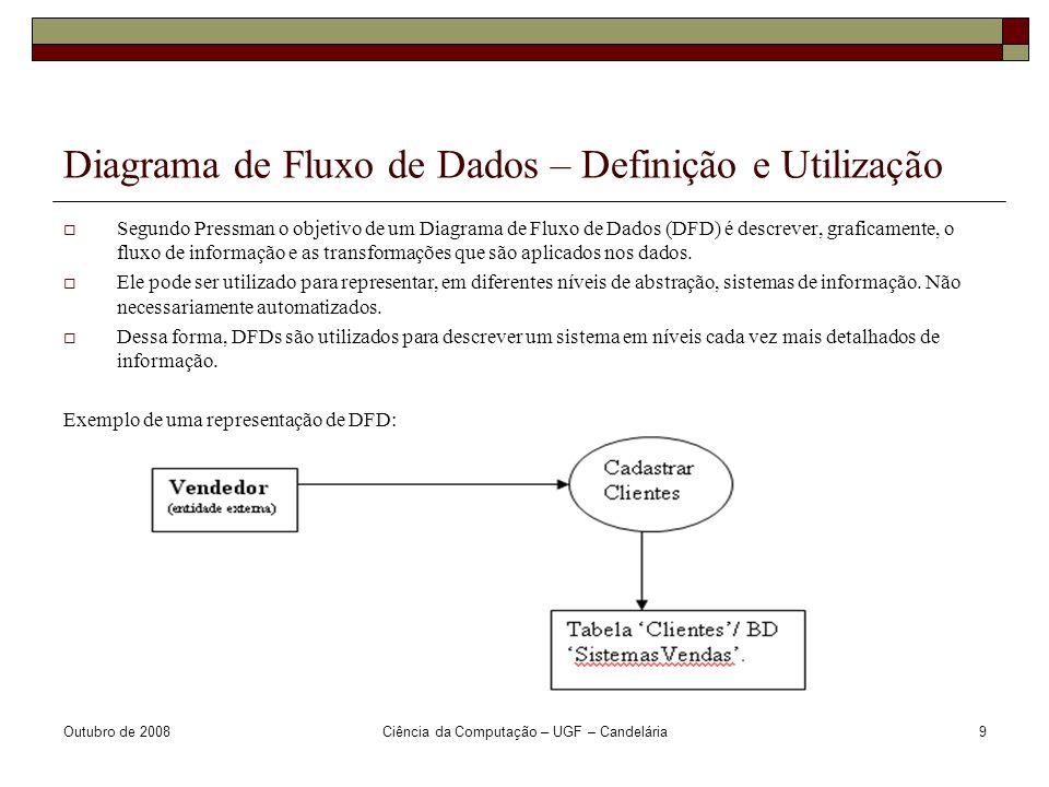 Outubro de 2008Ciência da Computação – UGF – Candelária9 Diagrama de Fluxo de Dados – Definição e Utilização  Segundo Pressman o objetivo de um Diagrama de Fluxo de Dados (DFD) é descrever, graficamente, o fluxo de informação e as transformações que são aplicados nos dados.