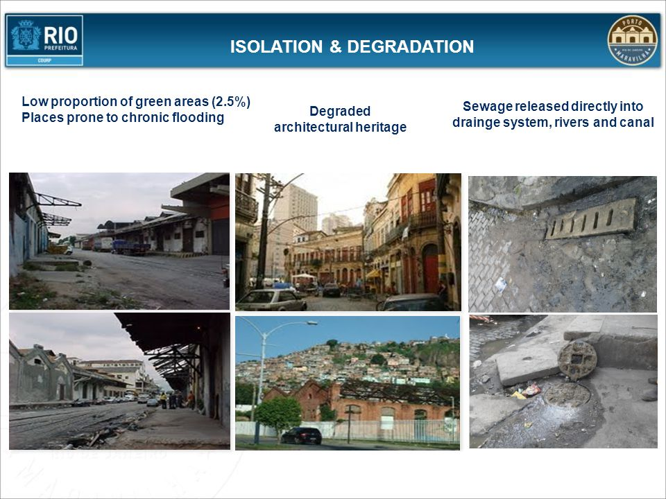 PORTO MARAVILHA: BREAKING PARADIGMS Shifting real estate development to downtown Changing the downtown image Improving current residents' quality of life Increasing the number of residents Valuing heritage Improving the enviroment