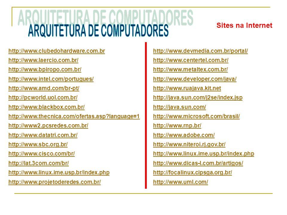 Sites na Internet http://www.clubedohardware.com.br http://www.laercio.com.br/ http://www.bpiropo.com.br/ http://www.intel.com/portugues/ http://www.a