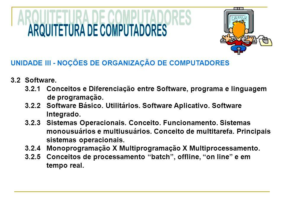 UNIDADE III ‑ NOÇÕES DE ORGANIZAÇÃO DE COMPUTADORES 3.2Software. 3.2.1 Conceitos e Diferenciação entre Software, programa e linguagem de programação.