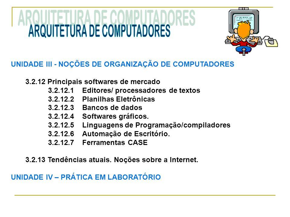 UNIDADE III ‑ NOÇÕES DE ORGANIZAÇÃO DE COMPUTADORES 3.2.12 Principais softwares de mercado 3.2.12.1 Editores/ processadores de textos 3.2.12.2 Planilh