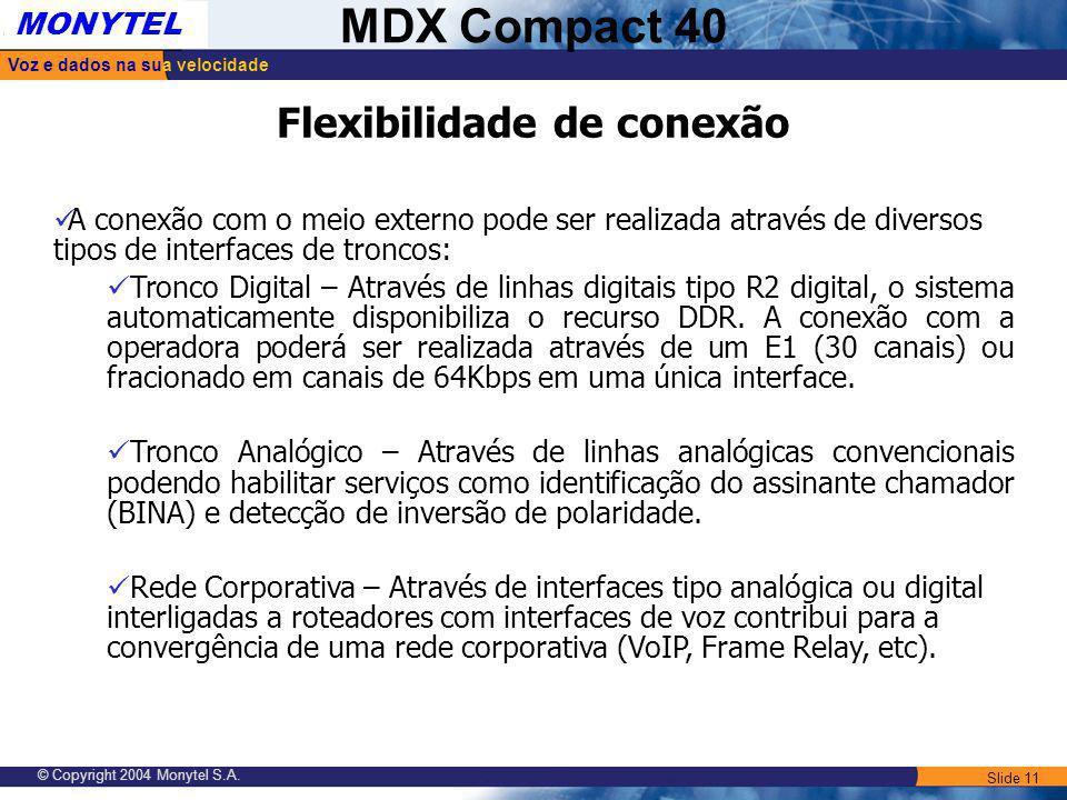 Slide 11 Voz e dados na sua velocidade MONYTEL MDX Compact 40 © Copyright 2004 Monytel S.A. Flexibilidade de conexão A conexão com o meio externo pode