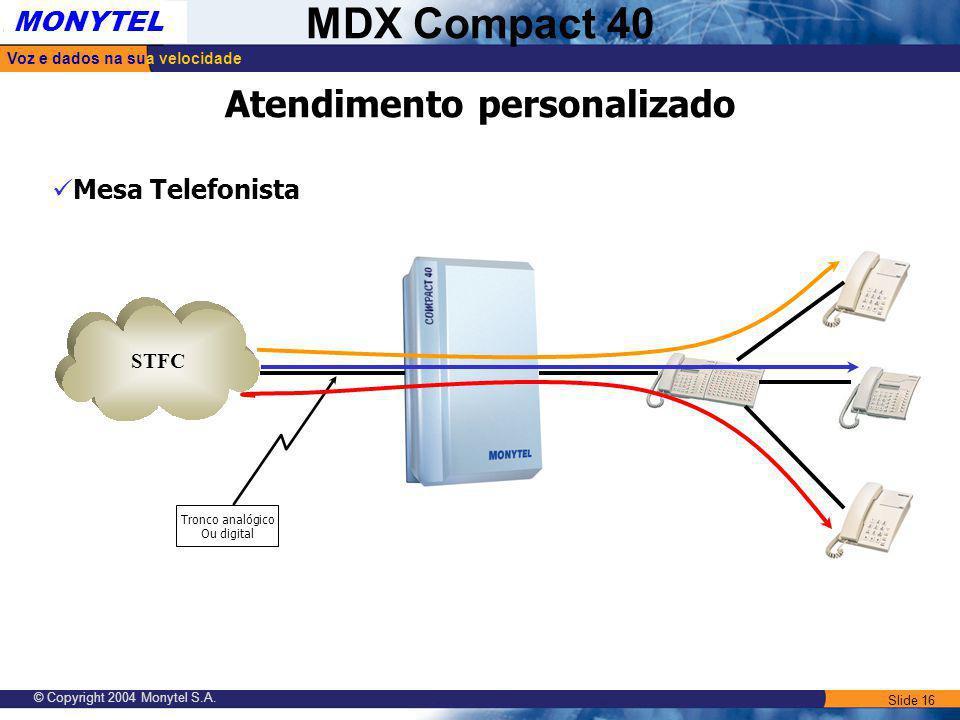 Slide 16 Voz e dados na sua velocidade MONYTEL MDX Compact 40 © Copyright 2004 Monytel S.A. Atendimento personalizado STFC Tronco analógico Ou digital