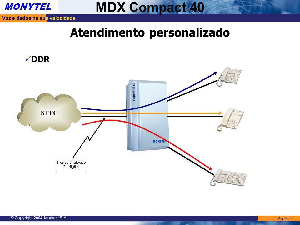 Slide 17 Voz e dados na sua velocidade MONYTEL MDX Compact 40 © Copyright 2004 Monytel S.A. STFC Tronco analógico Ou digital DDR Atendimento personali