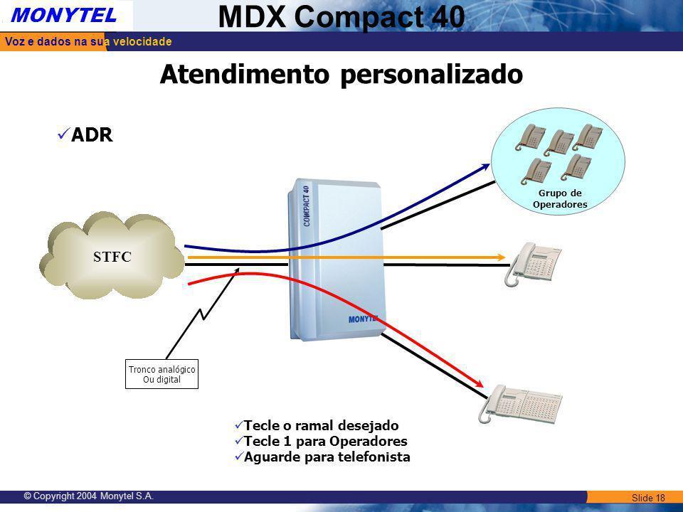 Slide 18 Voz e dados na sua velocidade MONYTEL MDX Compact 40 © Copyright 2004 Monytel S.A. Atendimento personalizado ADR STFC Tronco analógico Ou dig