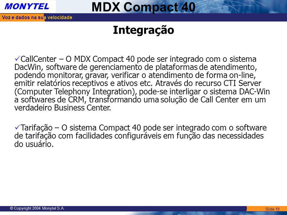 Slide 19 Voz e dados na sua velocidade MONYTEL MDX Compact 40 © Copyright 2004 Monytel S.A. Integração CallCenter – O MDX Compact 40 pode ser integrad