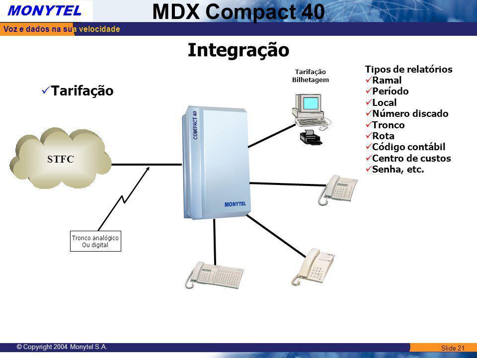 Slide 21 Voz e dados na sua velocidade MONYTEL MDX Compact 40 © Copyright 2004 Monytel S.A. STFC Tronco analógico Ou digital Integração Tarifação Bilh