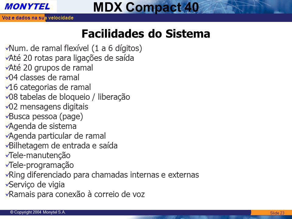 Slide 23 Voz e dados na sua velocidade MONYTEL MDX Compact 40 © Copyright 2004 Monytel S.A. Facilidades do Sistema Num. de ramal flexível (1 a 6 dígit