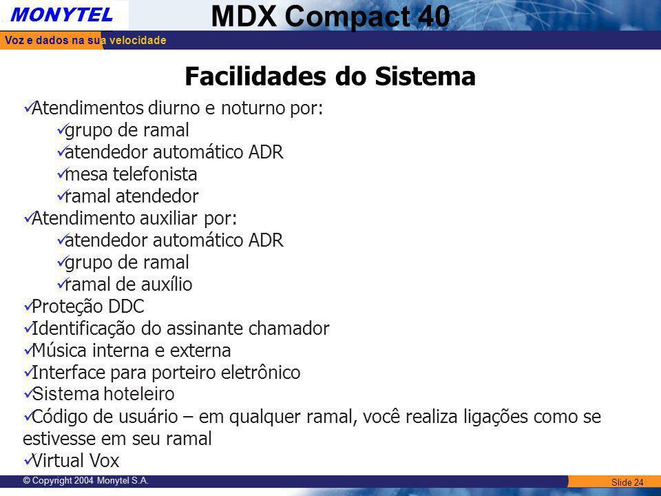 Slide 24 Voz e dados na sua velocidade MONYTEL MDX Compact 40 © Copyright 2004 Monytel S.A. Atendimentos diurno e noturno por: grupo de ramal atendedo