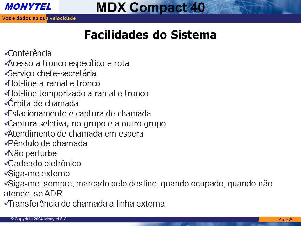 Slide 25 Voz e dados na sua velocidade MONYTEL MDX Compact 40 © Copyright 2004 Monytel S.A. Conferência Acesso a tronco específico e rota Serviço chef