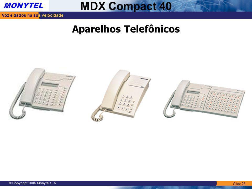 Slide 26 Voz e dados na sua velocidade MONYTEL MDX Compact 40 © Copyright 2004 Monytel S.A. Aparelhos Telefônicos