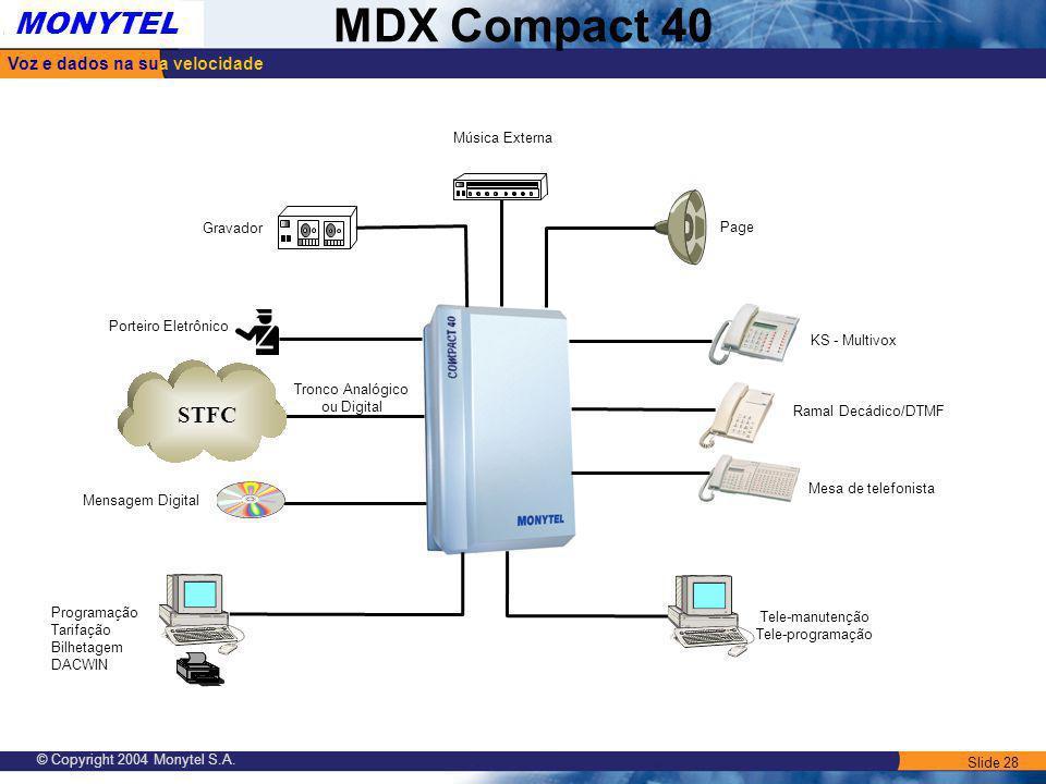 Slide 28 Voz e dados na sua velocidade MONYTEL MDX Compact 40 © Copyright 2004 Monytel S.A. Mesa de telefonista Ramal Decádico/DTMF KS - Multivox Page