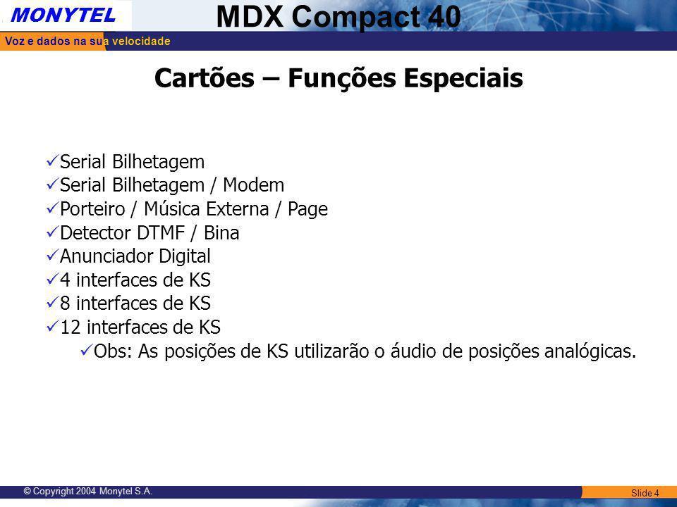 Slide 4 Voz e dados na sua velocidade MONYTEL MDX Compact 40 © Copyright 2004 Monytel S.A. Cartões – Funções Especiais Serial Bilhetagem Serial Bilhet