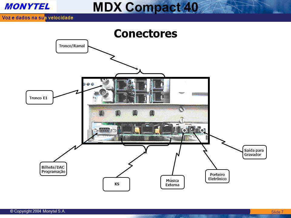 Slide 7 Voz e dados na sua velocidade MONYTEL MDX Compact 40 © Copyright 2004 Monytel S.A. Tronco E1 Conectores Tronco/Ramal Bilhete/DAC Programação S