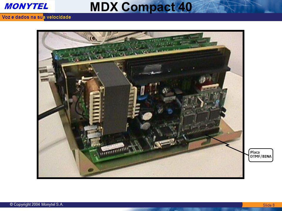 Slide 8 Voz e dados na sua velocidade MONYTEL MDX Compact 40 © Copyright 2004 Monytel S.A. Placa DTMF/BINA