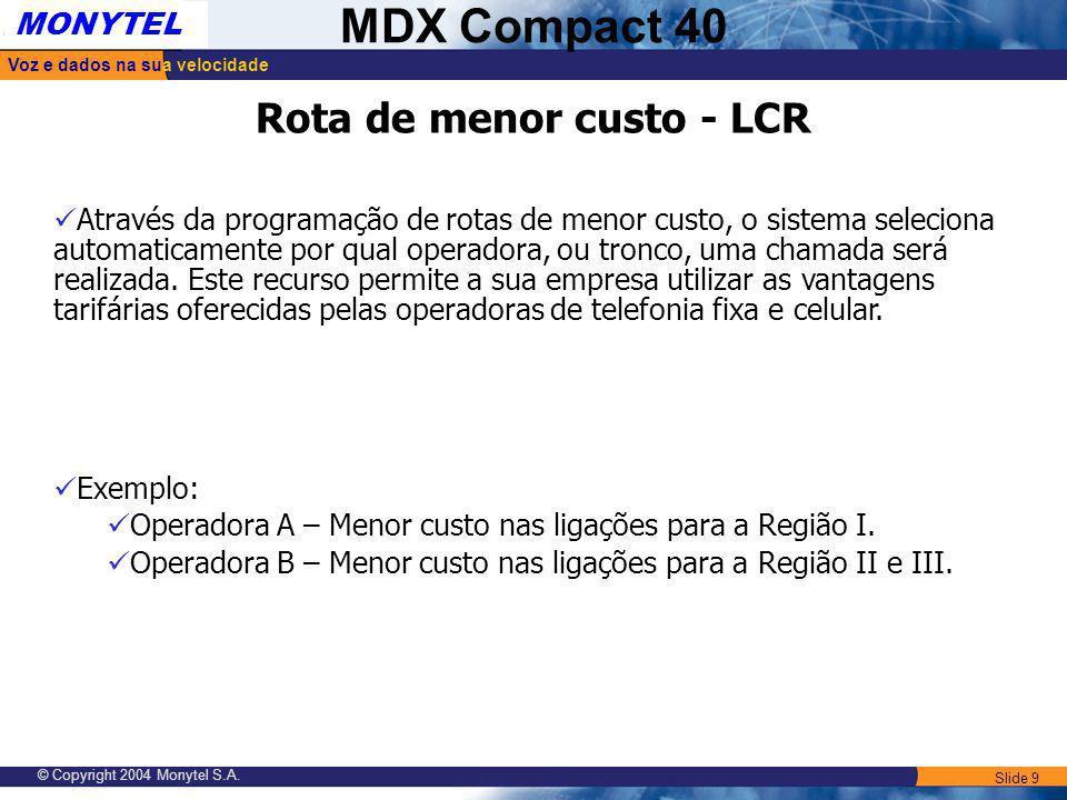 Slide 9 Voz e dados na sua velocidade MONYTEL MDX Compact 40 © Copyright 2004 Monytel S.A. Rota de menor custo - LCR Através da programação de rotas d