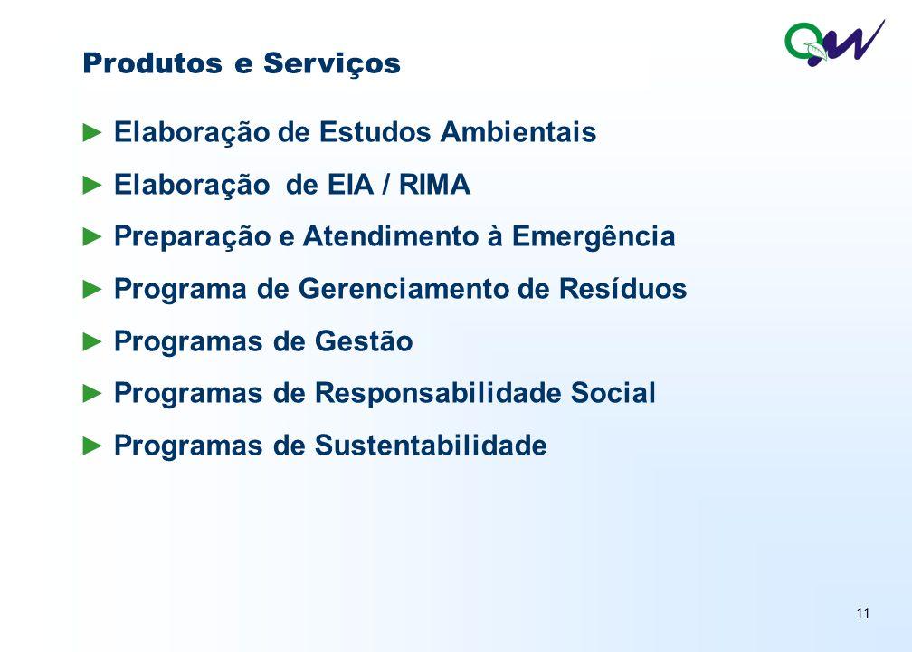 11 ► Elaboração de Estudos Ambientais ► Elaboração de EIA / RIMA ► Preparação e Atendimento à Emergência ► Programa de Gerenciamento de Resíduos ► Programas de Gestão ► Programas de Responsabilidade Social ► Programas de Sustentabilidade Produtos e Serviços