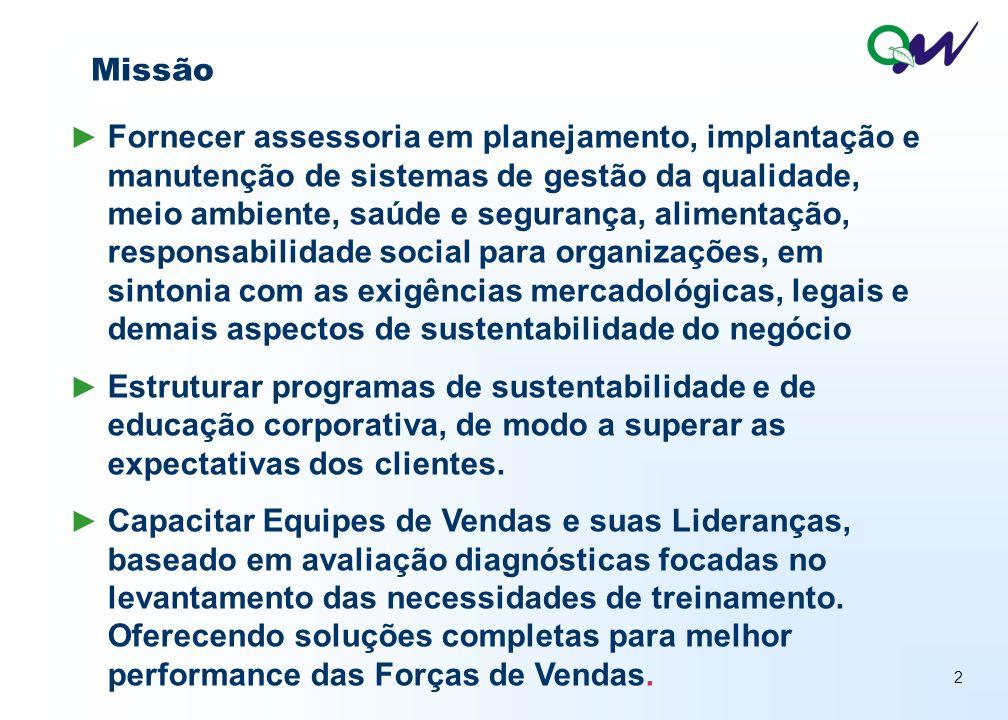 3 ► Ser referência regional na Assessoria de Implantação de Sistemas de Gestão da Qualidade, Meio Ambiente, Saúde e Segurança, Responsabilidade Social, Vendas e Educação Corporativa por um período de 10 anos.