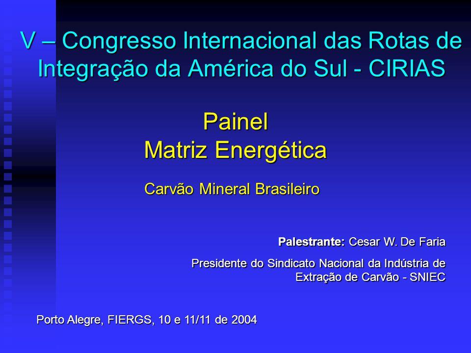 V – Congresso Internacional das Rotas de Integração da América do Sul - CIRIAS Painel Matriz Energética Carvão Mineral Brasileiro Palestrante: Cesar W.