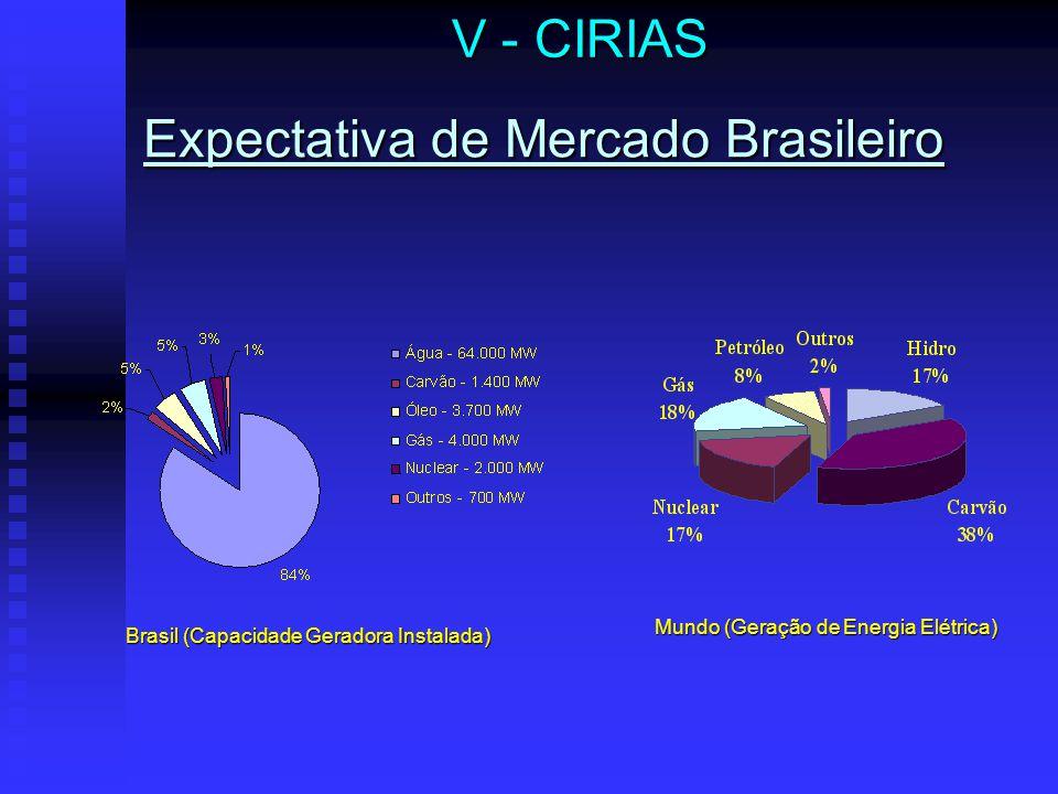Expectativa de Mercado Brasileiro V - CIRIAS Brasil (Capacidade Geradora Instalada) Mundo (Geração de Energia Elétrica)