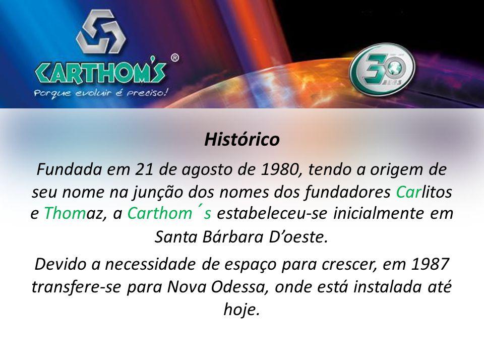 Histórico Fundada em 21 de agosto de 1980, tendo a origem de seu nome na junção dos nomes dos fundadores Carlitos e Thomaz, a Carthom´s estabeleceu-se inicialmente em Santa Bárbara D'oeste.