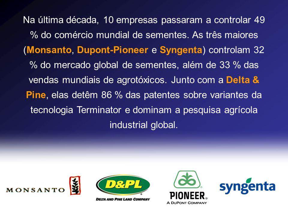 Na última década, 10 empresas passaram a controlar 49 % do comércio mundial de sementes. As três maiores (Monsanto, Dupont-Pioneer e Syngenta) control