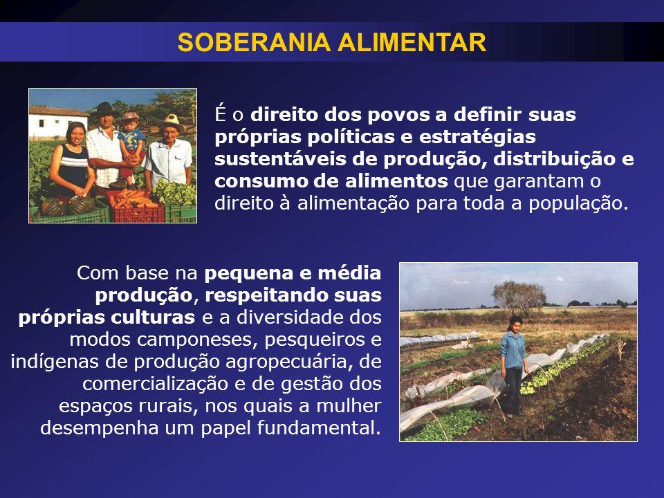 É o direito dos povos a definir suas próprias políticas e estratégias sustentáveis de produção, distribuição e consumo de alimentos que garantam o dir