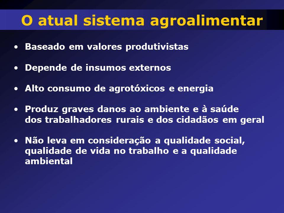 Baseado em valores produtivistas Depende de insumos externos Alto consumo de agrotóxicos e energia Produz graves danos ao ambiente e à saúde dos traba