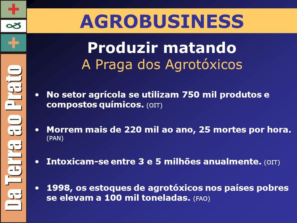 AGROBUSINESS No setor agrícola se utilizam 750 mil produtos e compostos químicos. (OIT) Produzir matando A Praga dos Agrotóxicos Morrem mais de 220 mi