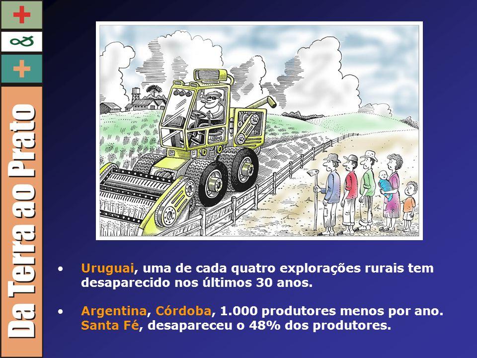 Uruguai, uma de cada quatro explorações rurais tem desaparecido nos últimos 30 anos. Argentina, Córdoba, 1.000 produtores menos por ano. Santa Fé, des