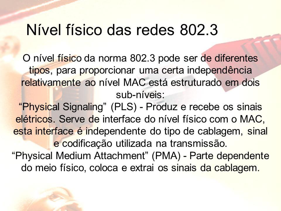 Nível físico das redes 802.3 O nível físico da norma 802.3 pode ser de diferentes tipos, para proporcionar uma certa independência relativamente ao ní