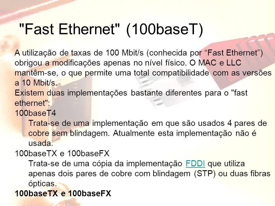 Fast Ethernet (100baseT) A utilização de taxas de 100 Mbit/s (conhecida por Fast Ethernet ) obrigou a modificações apenas no nível físico.