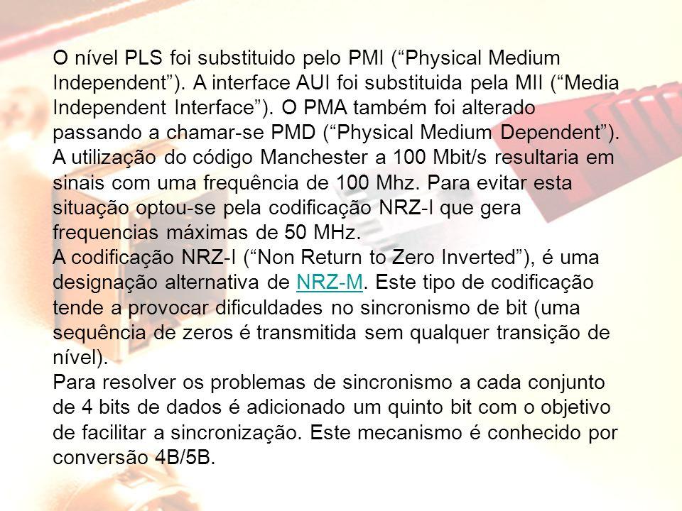 "O nível PLS foi substituido pelo PMI (""Physical Medium Independent""). A interface AUI foi substituida pela MII (""Media Independent Interface""). O PMA"