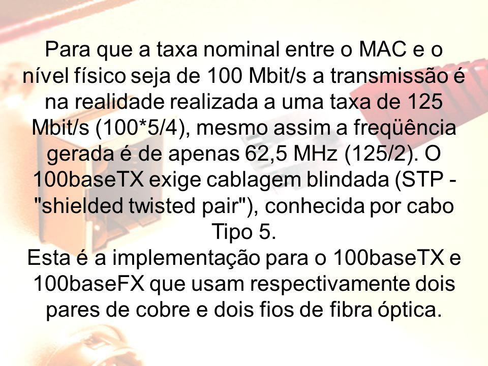 Para que a taxa nominal entre o MAC e o nível físico seja de 100 Mbit/s a transmissão é na realidade realizada a uma taxa de 125 Mbit/s (100*5/4), mes