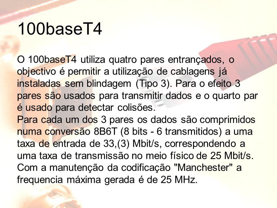 100baseT4 O 100baseT4 utiliza quatro pares entrançados, o objectivo é permitir a utilização de cablagens já instaladas sem blindagem (Tipo 3). Para o