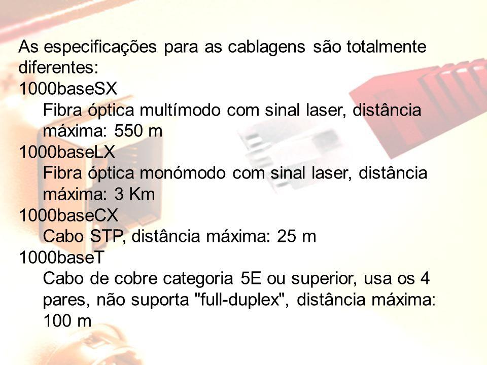 As especificações para as cablagens são totalmente diferentes: 1000baseSX Fibra óptica multímodo com sinal laser, distância máxima: 550 m 1000baseLX F