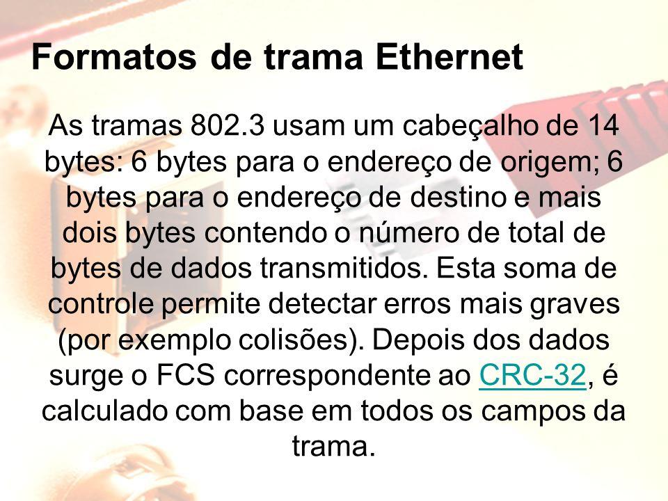 Formatos de trama Ethernet As tramas 802.3 usam um cabeçalho de 14 bytes: 6 bytes para o endereço de origem; 6 bytes para o endereço de destino e mais
