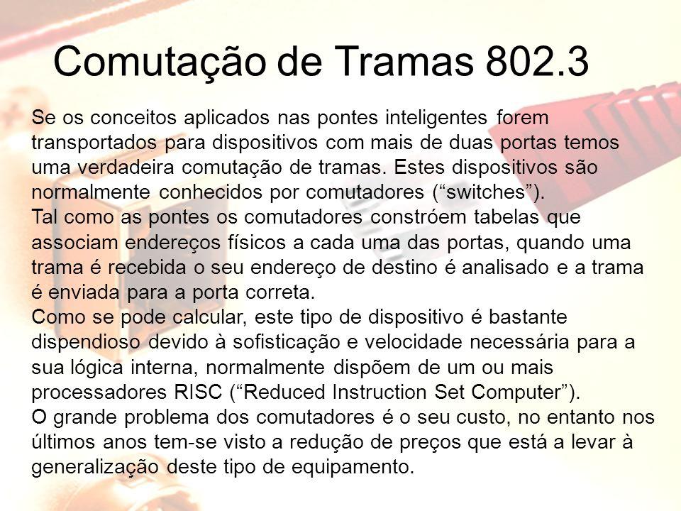 Comutação de Tramas 802.3 Se os conceitos aplicados nas pontes inteligentes forem transportados para dispositivos com mais de duas portas temos uma ve