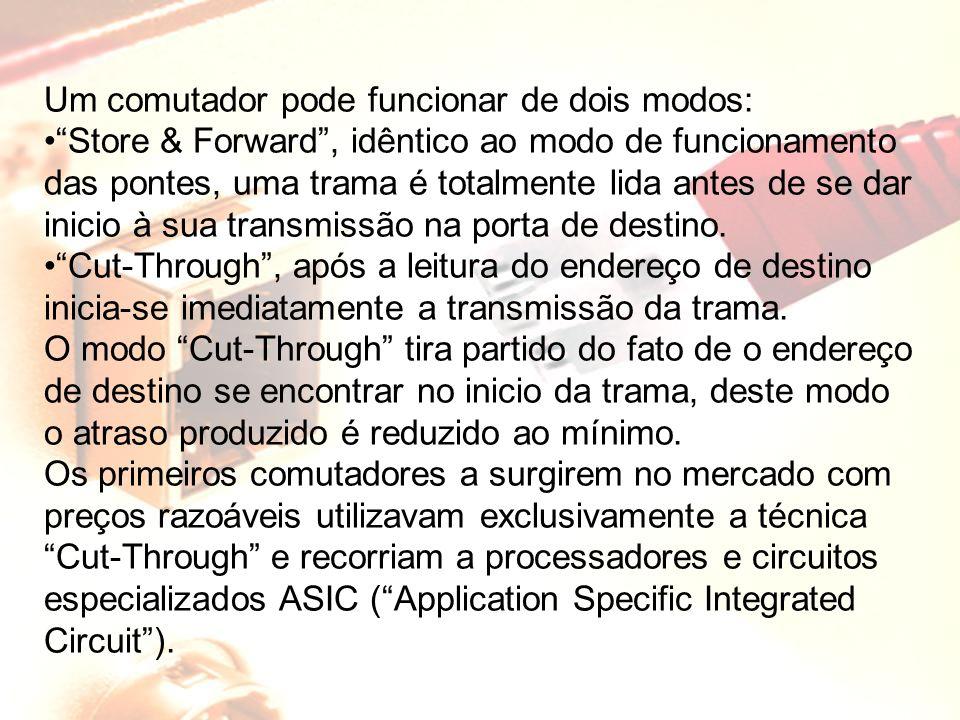 """Um comutador pode funcionar de dois modos: """"Store & Forward"""", idêntico ao modo de funcionamento das pontes, uma trama é totalmente lida antes de se da"""
