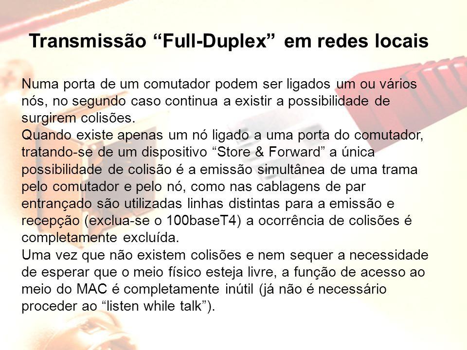 """Transmissão """"Full-Duplex"""" em redes locais Numa porta de um comutador podem ser ligados um ou vários nós, no segundo caso continua a existir a possibil"""